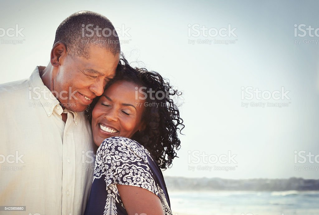 African american mature couple together stock photo