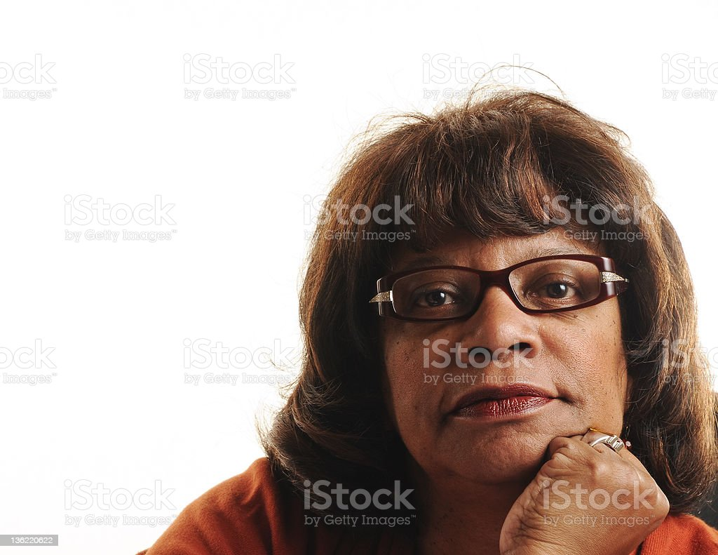 African American Mature Woman Thinking Isolated on White royalty-free stock photo