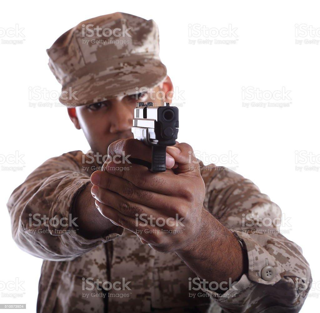 African American Military Man Aims Gun stock photo