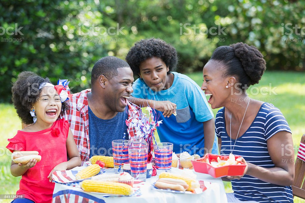African American mixed race family at July 4th picnic stock photo