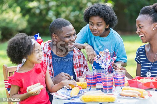 1091098220istockphoto African American mixed race family at July 4th picnic 541270360