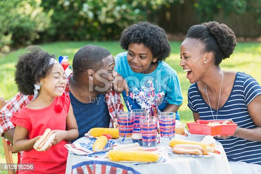 1091098220istockphoto African American mixed race family at July 4th picnic 612616256