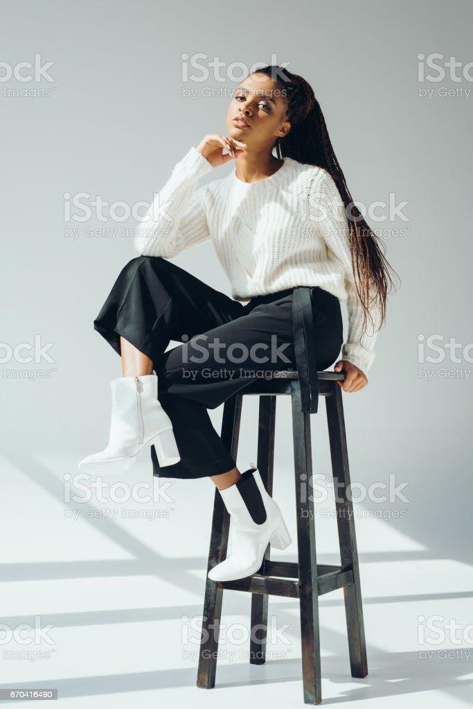 Wondrous African American Model Posing With Stool Stock Photo Lamtechconsult Wood Chair Design Ideas Lamtechconsultcom