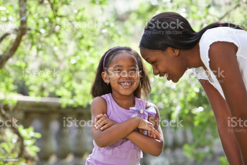African American mother and daughter stock photo