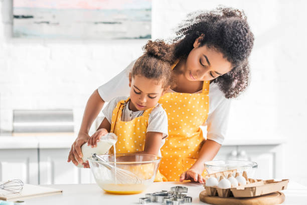 African american mother and daughter preparing dough and pouring milk picture id1067784646?b=1&k=6&m=1067784646&s=612x612&w=0&h=nuasn3mvtg5o3bzhzabt mjlbih8xnombpvgbzp2a0o=