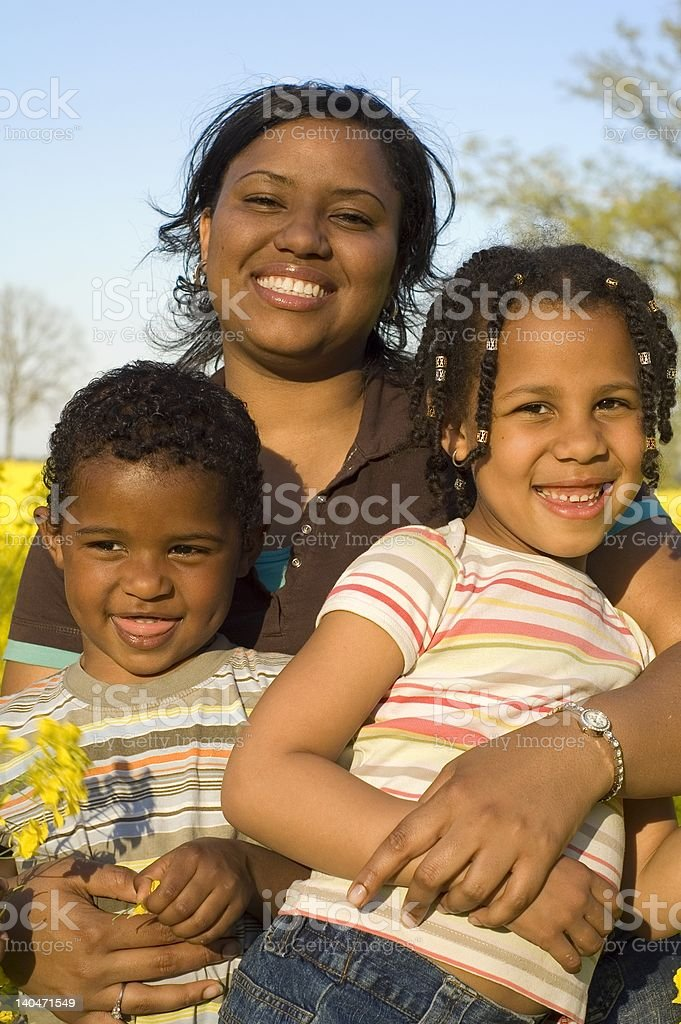 African american mother with her kids royalty-free stock photo