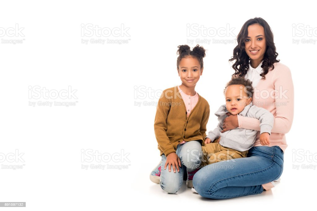 african american mother with kids stock photo