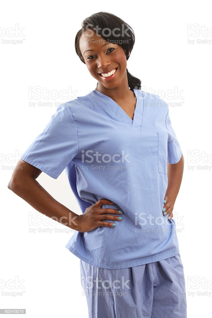 African american nurse with hands on hips stock photo