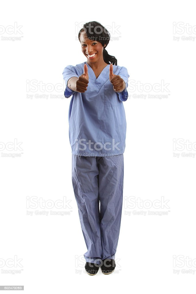 African american nurse with two thumbs up stock photo