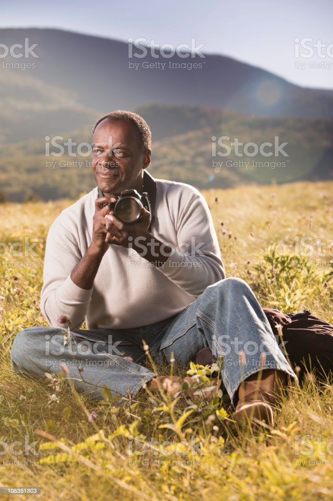 African American Outdoor Photographer royalty-free stock photo