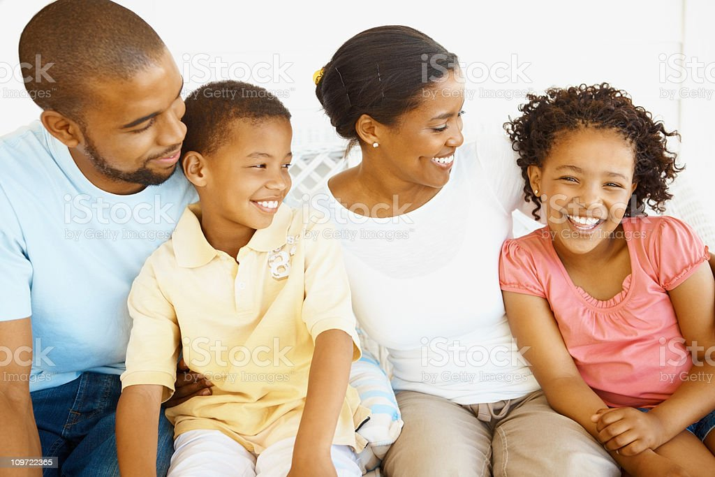 African American parents enjoying with their cute kids royalty-free stock photo