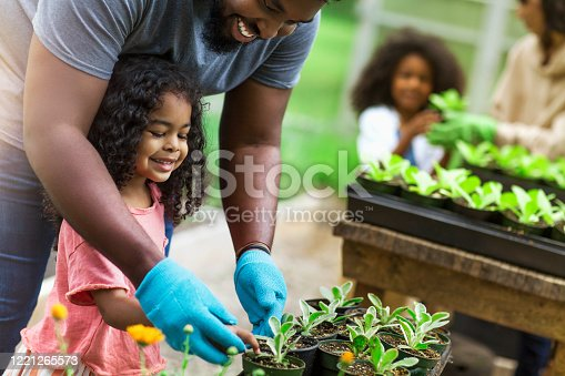 istock African American parents teaching children to take care of plants at plant nursery 1221265573