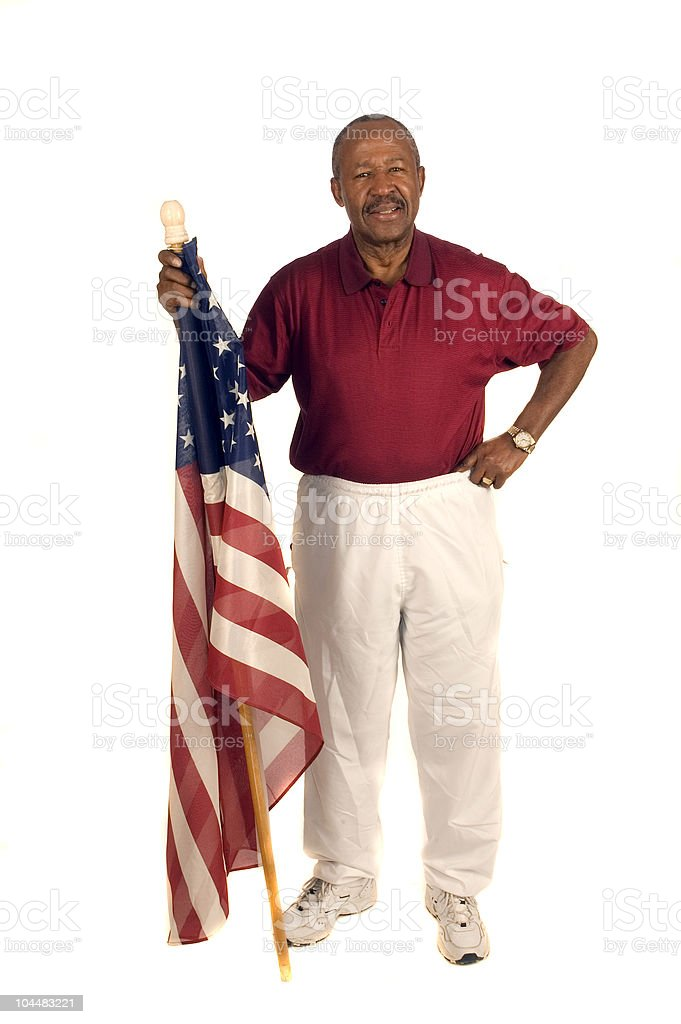 African American Patriot with flag royalty-free stock photo