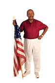 istock African American Patriot with flag 104483221