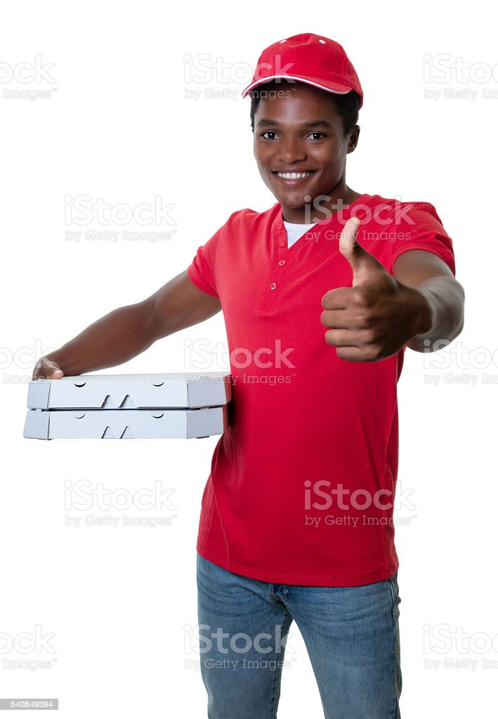 African american pizza delivery guy showing thumb stock photo