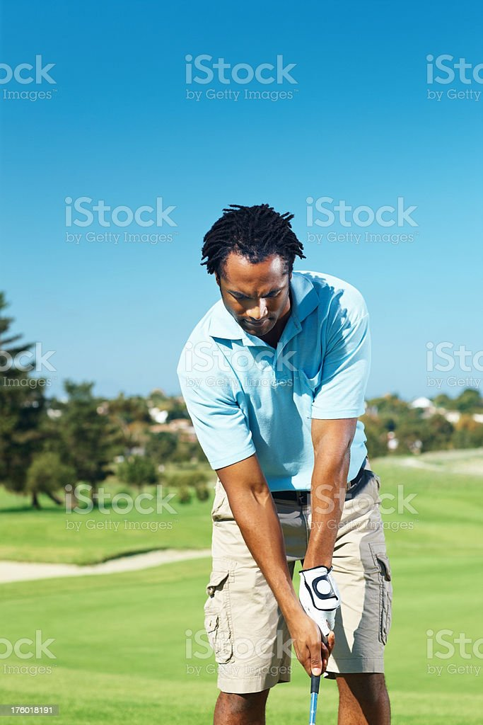African American playing game of golf royalty-free stock photo