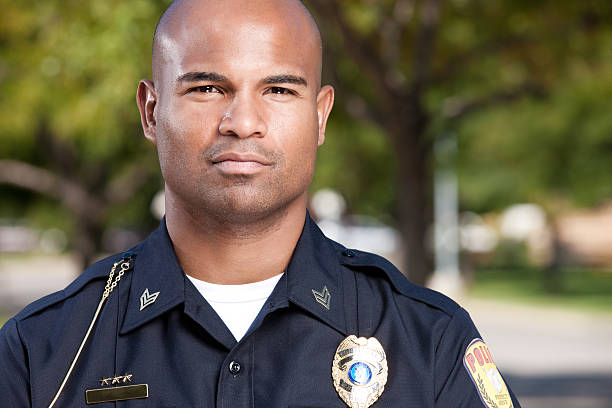 African American Police Officer Portrait stock photo