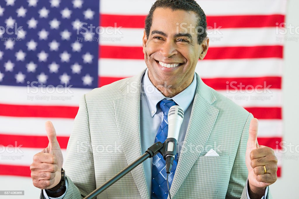 African American Politician gives thumbs up stock photo