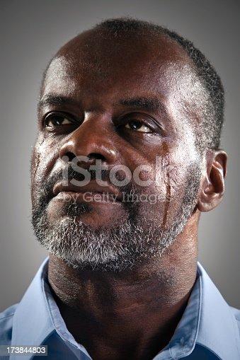 Black man crying tears of sadness or joy