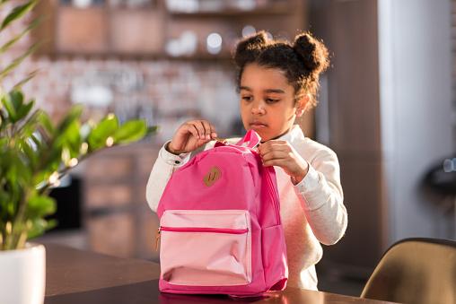 istock african american schoolgirl with backpack preparing for school, elementary school student concept 690415176