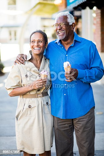 istock African American Senior Couple On the Town with Ice Cream 898247958