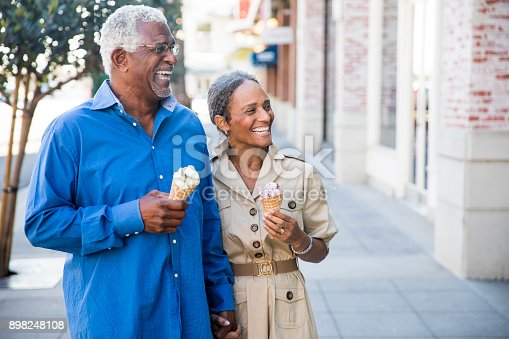 istock African American Senior Couple On the Town with Ice Cream 898248108