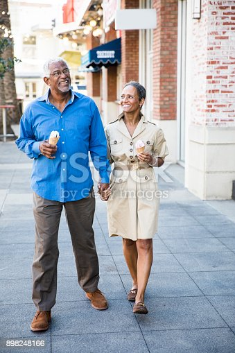 istock African American Senior Couple On the Town with Ice Cream 898248166