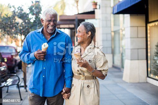 istock African American Senior Couple On the Town with Ice Cream 898248170