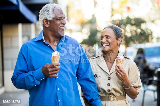 istock African American Senior Couple On the Town with Ice Cream 898248278