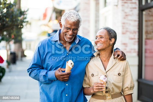 istock African American Senior Couple On the Town with Ice Cream 898248356