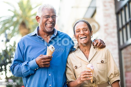 istock African American Senior Couple On the Town with Ice Cream 898248366