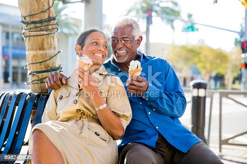 istock African American Senior Couple On the Town with Ice Cream 898248408