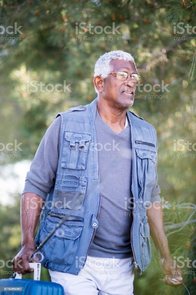 African American Senior Man Fishing stock photo