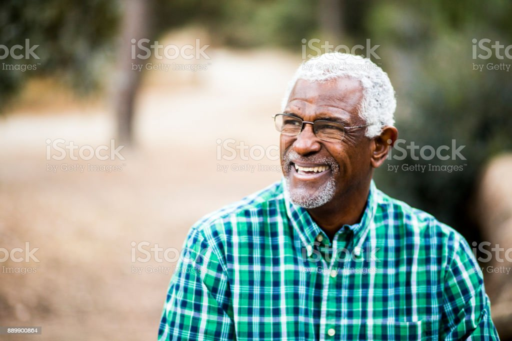 African American Senior Man in Nature Portrait stock photo