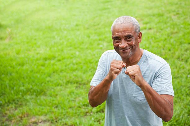 African American senior man outdoors stock photo