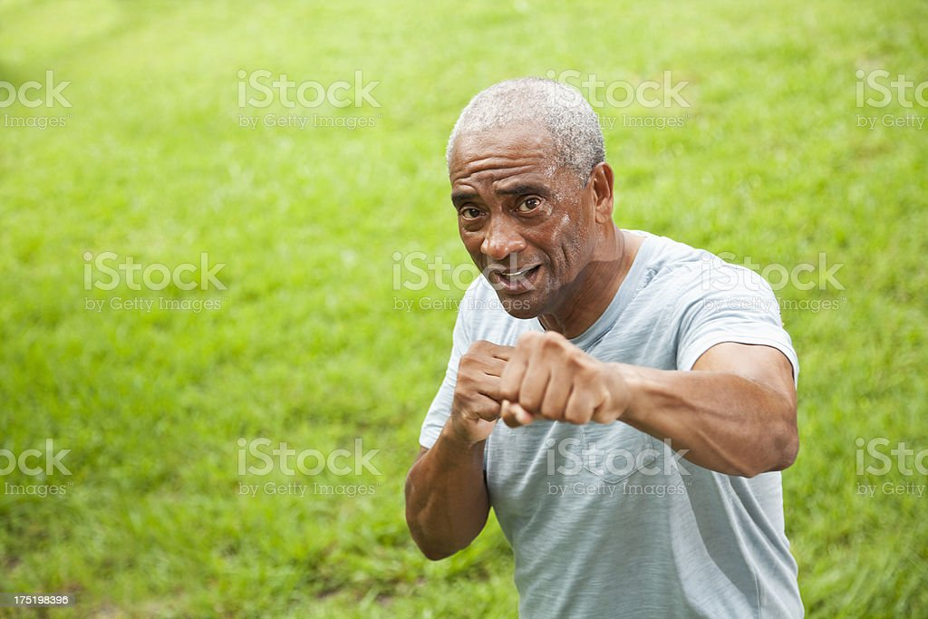 African American senior man outdoors stock photo