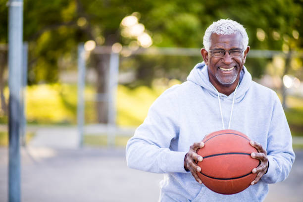 African American Senior Man with Basketball - foto stock