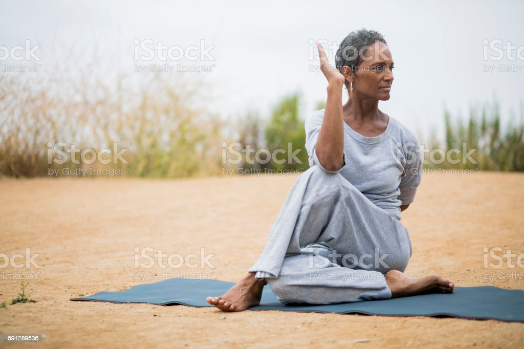 African American Senior Woman Yoga Instructor stock photo