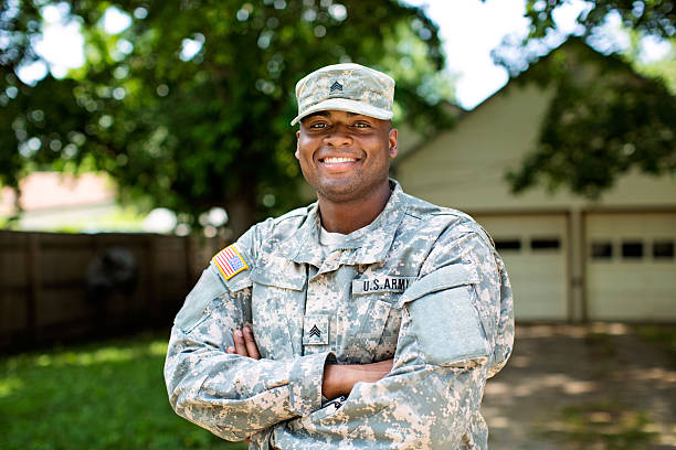 African American Sergeant U.S. Army Stock image of a real member of the U.S. armed forces. sergeant stock pictures, royalty-free photos & images