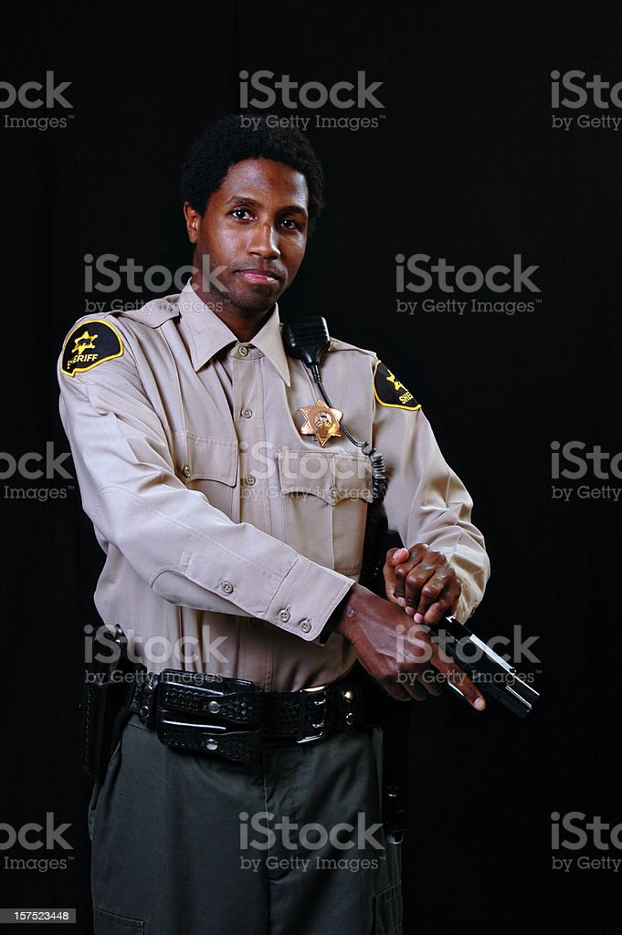 African American Sheriff with Gun royalty-free stock photo
