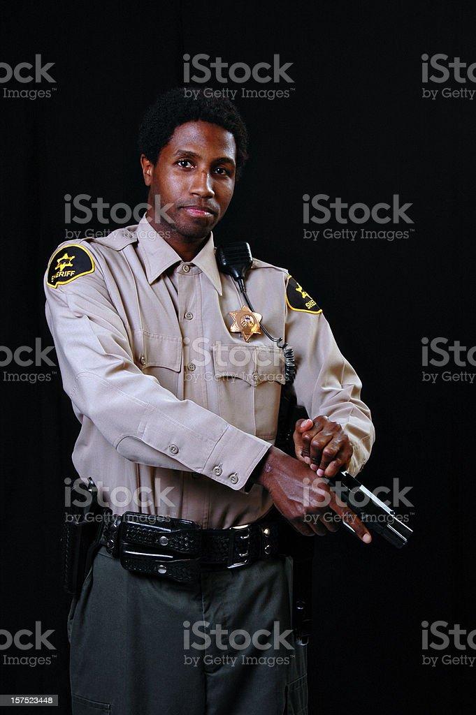 African American Sheriff with Gun stock photo