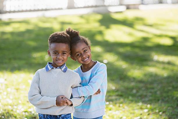 African American siblings stock photo