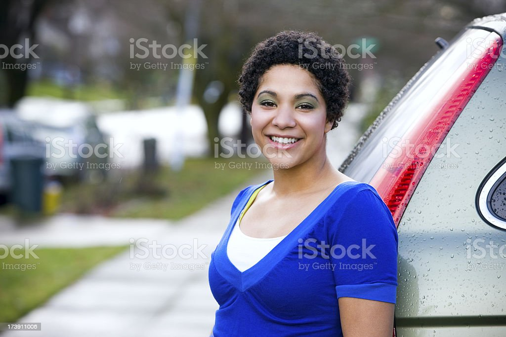 African American Smiling Teenager Portrait Outside, Copy Space royalty-free stock photo