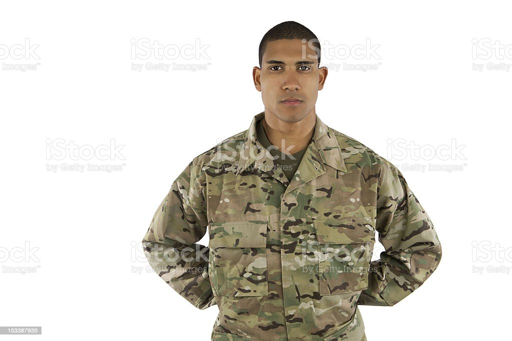African American Soldier Standing at Parade Rest royalty-free stock photo