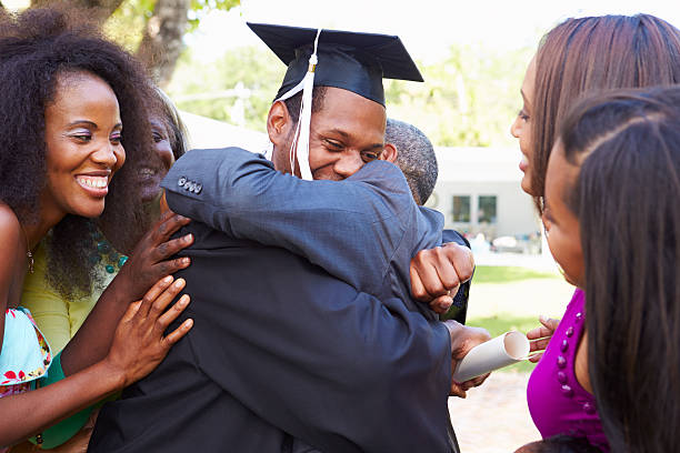 African American Student Celebrates Graduation stock photo