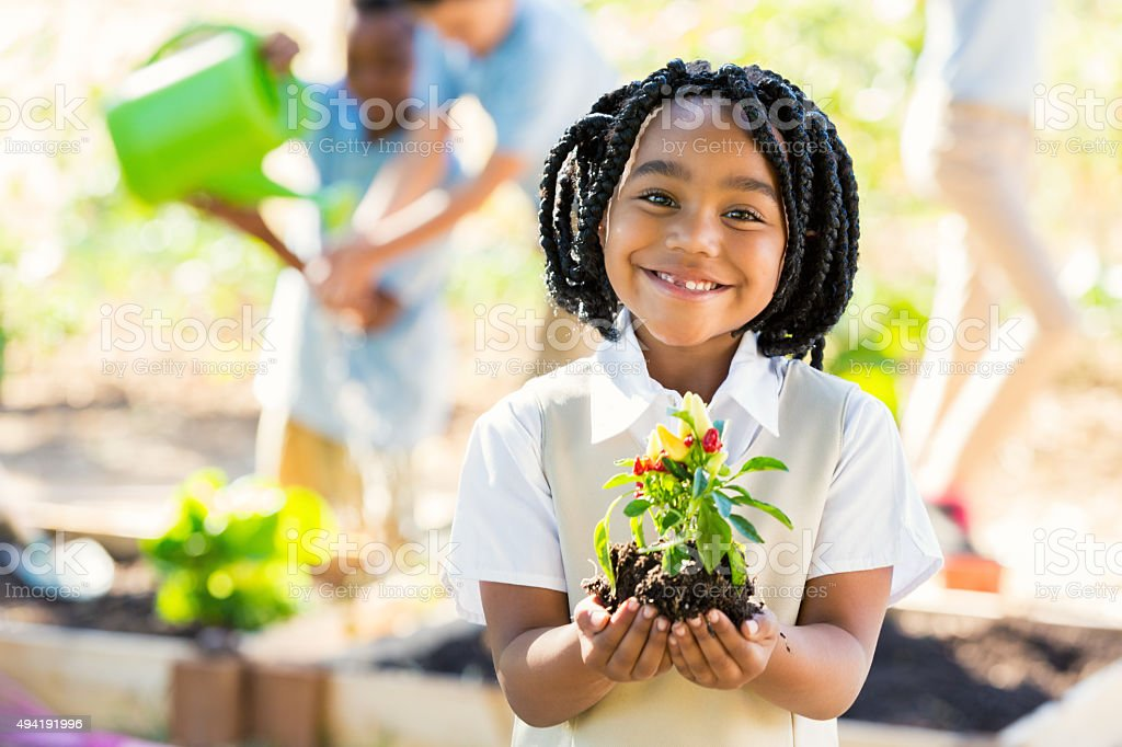 African American student holding plant while gardening during science class stock photo
