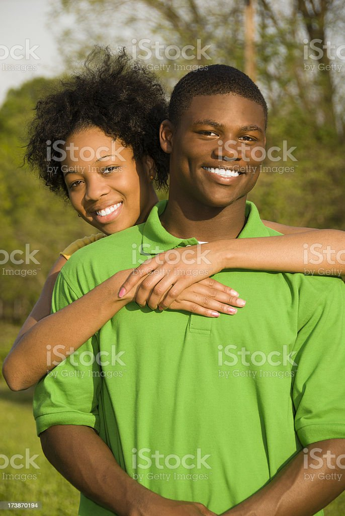 African American teen couple royalty-free stock photo