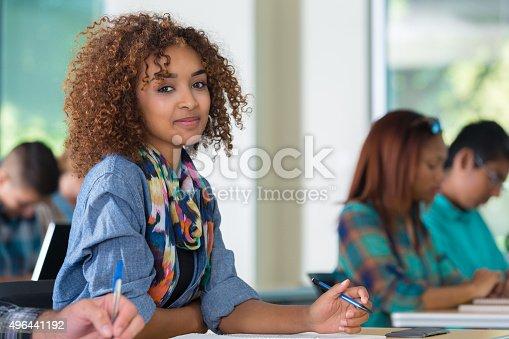 istock African American teenage girl smiling in classroom 496441192