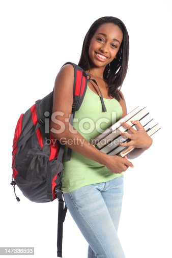 istock African American teenage student and school books 147336593