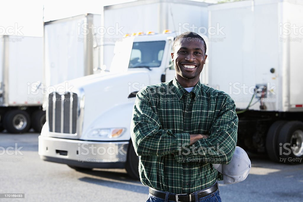 African American truck driver stock photo